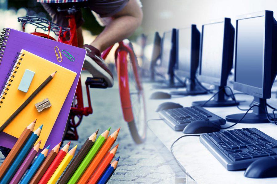 Samengestelde afbeelding kind op een fiets, schrijfgerei en computers